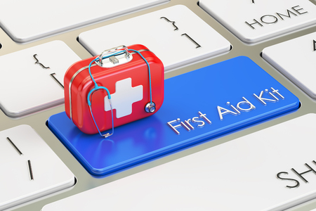medicaid: First Aid Kit button on keyboard, 3D rendering