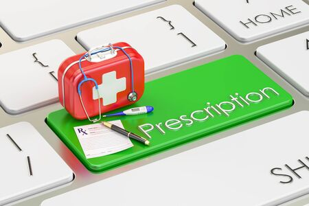 medicaid: Prescription key on keyboard, 3D rendering Stock Photo