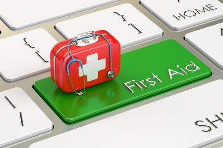 first aid kit key: First Aid green button on keyboard, 3D rendering