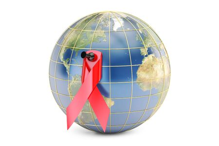 immunodeficiency syndrome: HIV AIDS Awareness Red Ribbon with Earth, 3D rendering isolated on white background