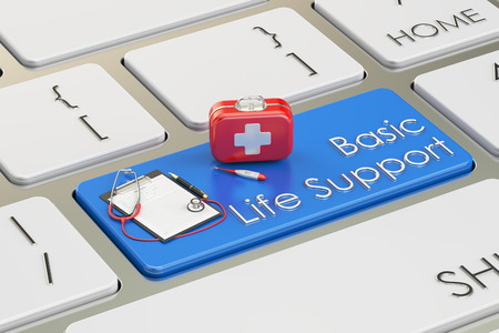 basic care: Basic Life Support key on keyboard, 3D rendering