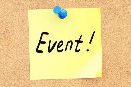 pinned: Event note pinned o a cork notice board, 3D rendering Stock Photo