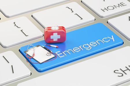 medicaid: Emergency blue key on keyboard, 3D rendering