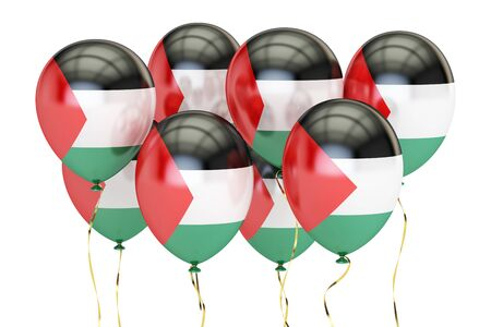 holyday: Balloons with flag of Palestine,  holyday concept. 3D rendering isolated on white background
