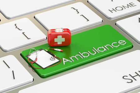 medicaid: Ambulance key on keyboard, 3D rendering