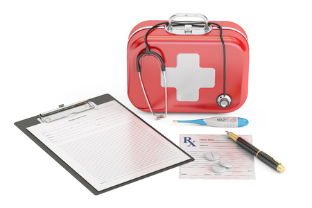 First Medical Aid and Diagnostic concept, 3D rendering isolated on white background Stock Photo
