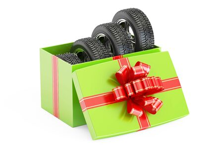 Gift Box with Winter Wheels, 3D rendering isolated on white background Stock Photo