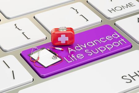 first aid kit key: Advanced Life Support key on keyboard, 3D rendering Stock Photo