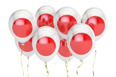 holyday: Balloons with flag of Japan, holyday concept. 3D rendering isolated on white background Stock Photo