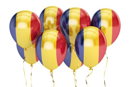 holyday: Balloons with flag of Romania, holyday concept. 3D rendering isolated on white background