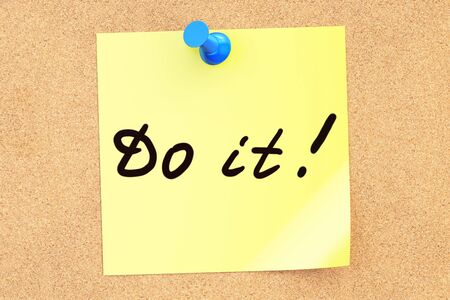 do it: Do it! Text on a sticky note pinned to a corkboard. 3D rendering