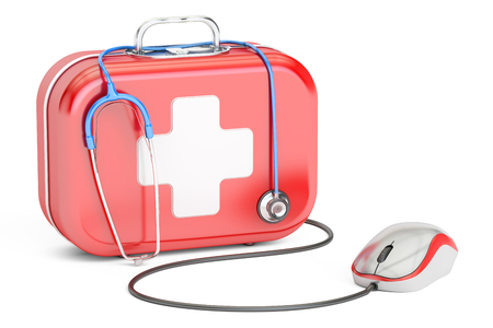 medicaid: First Aid Kit and computer mouse. First Aid online concept , 3D rendering isolated on white background Stock Photo