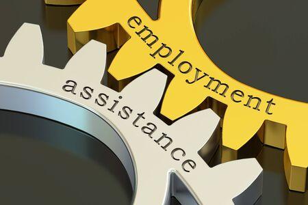 seeking assistance: employment assistance concept on the gearwheels, 3D rendering