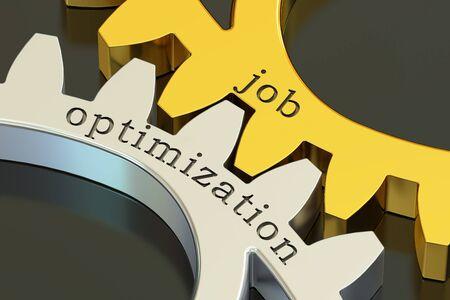 implement: job optimization concept on the gearwheels, 3D rendering