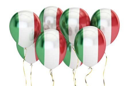 Balloons with flag of Italy, holyday concept. 3D rendering isolated on white background