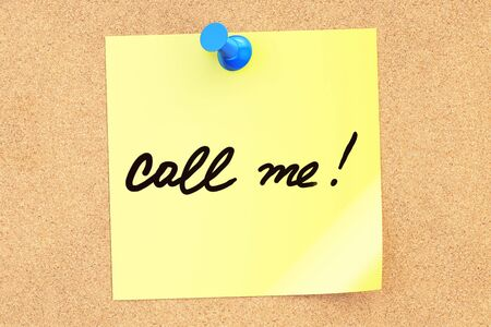 call me: Call me! Text on a sticky note pinned to a corkboard. 3D rendering