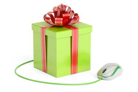 Online shopping concept, gift box with computer mouse. 3D rendering isolated on white background Stock Photo