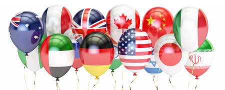 international flags: Balloons with different flags of countries, holyday concept. 3D rendering isolated on white background