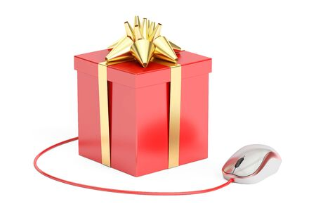 Gift box with computer mouse. Online shopping concept, 3D rendering isolated on white background