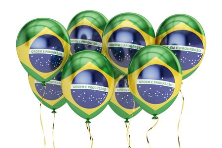 holyday: Balloons with flag of Brazil, holyday concept. 3D rendering isolated on white background