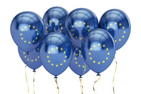 holyday: Balloons with flag of European Union, holyday concept. 3D rendering isolated on white background Stock Photo
