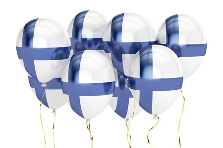holyday: Balloons with flag of Finland, holyday concept. 3D rendering isolated on white background Stock Photo