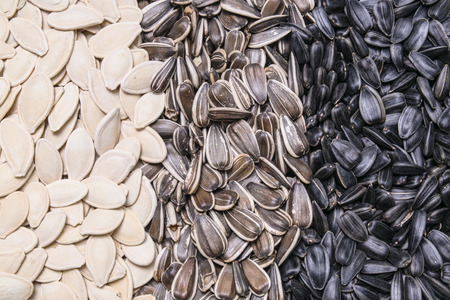 semillas de girasol: sunflower seeds and pumpkin seeds background, texture Foto de archivo