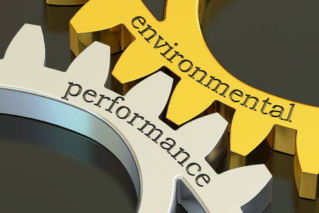 implications: Environmental Performance, concept on the gearwheels, 3D rendering