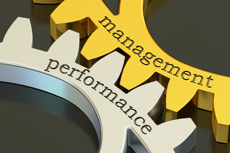 Management Performance concept on the gearwheels, 3D rendering
