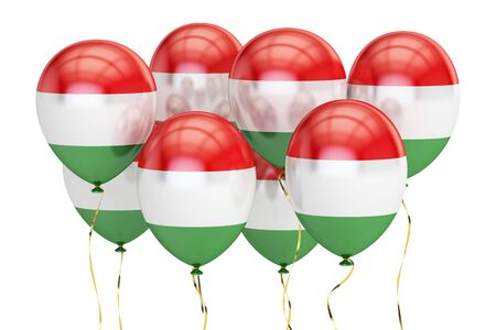 Balloons with flag of Hungary, holyday concept. 3D rendering isolated on white background