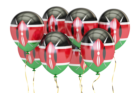 Balloons with flag of Kenya, holyday concept. 3D rendering isolated on white background