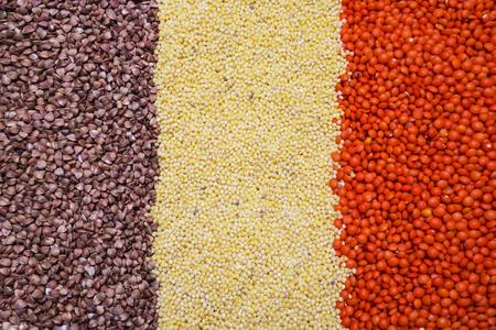 lenteja: buckwheat, millet, lentil background, texture Foto de archivo