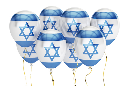 holyday: Balloons with flag of Israel, holyday concept. 3D rendering isolated on white background Stock Photo