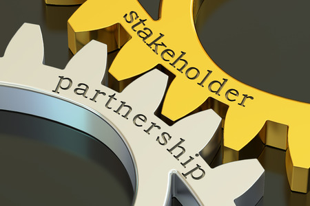 stakeholder: Stakeholder Partnership concept on the gearwheels, 3D rendering Stock Photo