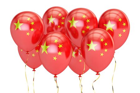 holyday: Balloons with flag of China, holyday concept. 3D rendering isolated on white background