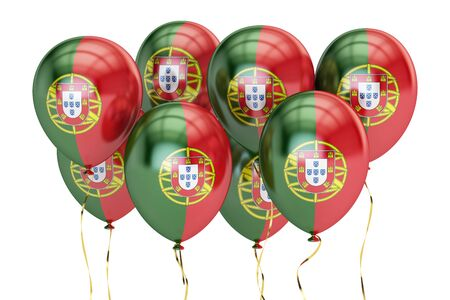 holyday: Balloons with flag of Portugal, holyday concept. 3D rendering isolated on white background Stock Photo