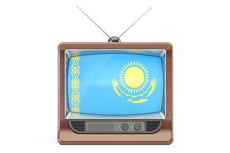 kazakh: old tv with flag of Kazakhstan. Kazakh Television concept, 3D rendering