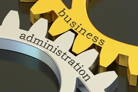 administracion de empresas: concepto de Administración de Empresas en las ruedas dentadas, 3D Foto de archivo