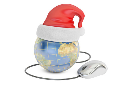 Global Christmas online shopping concept, Earth with santa hat and computer mouse. 3D rendering isolated on white background