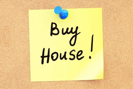 Buy House! Text on a sticky note pinned to a corkboard. 3D rendering Stock Photo