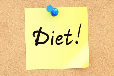 Diet text on a sticky note pinned to a corkboard. 3D rendering