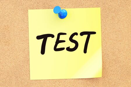 pinned: Test. Text on a sticky note pinned to a corkboard. 3D rendering