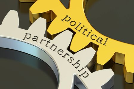 intrigue: political partnership concept on the gearwheels, 3D rendering