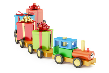 Wooden toy train with colored gift boxes concept, 3D rendering