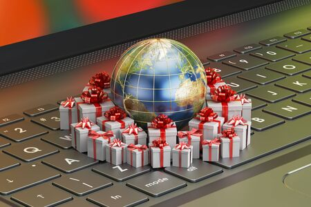 new world order: Gift delivery and global online shopping concept, Earth with gift boxes on the laptop. 3D rendering Stock Photo
