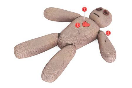 3d doll: voodoo doll with needles, 3D rendering isolated on white background