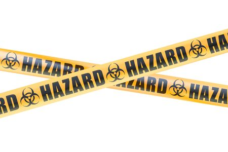 cordon: Biohazard Barrier Tapes, 3D rendering isolated on white background Stock Photo