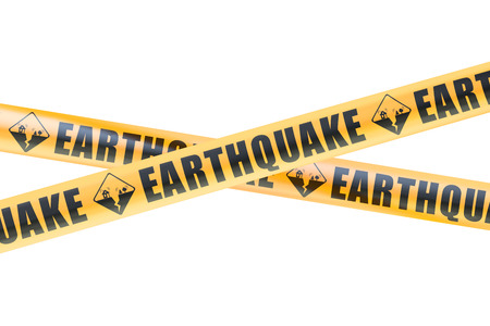 Earthquake Caution Barrier Tapes, 3D rendering isolated on white background