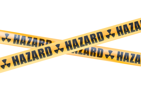 cordon: Radioactive Hazard Barrier Tapes, 3D rendering isolated on white background Stock Photo