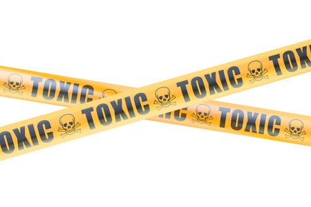 cordon: Toxic Caution Barrier Tapes, 3D rendering isolated on white background Stock Photo